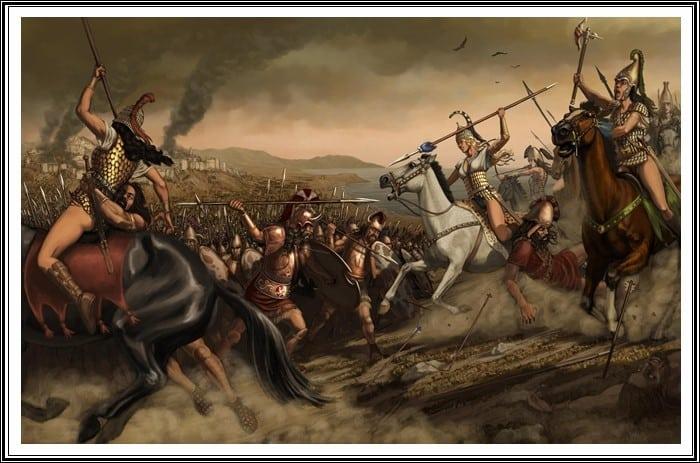 representación de la guerra de troya